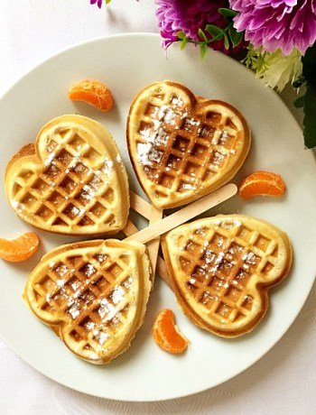 Heart-shaped cinnamon waffles recipe