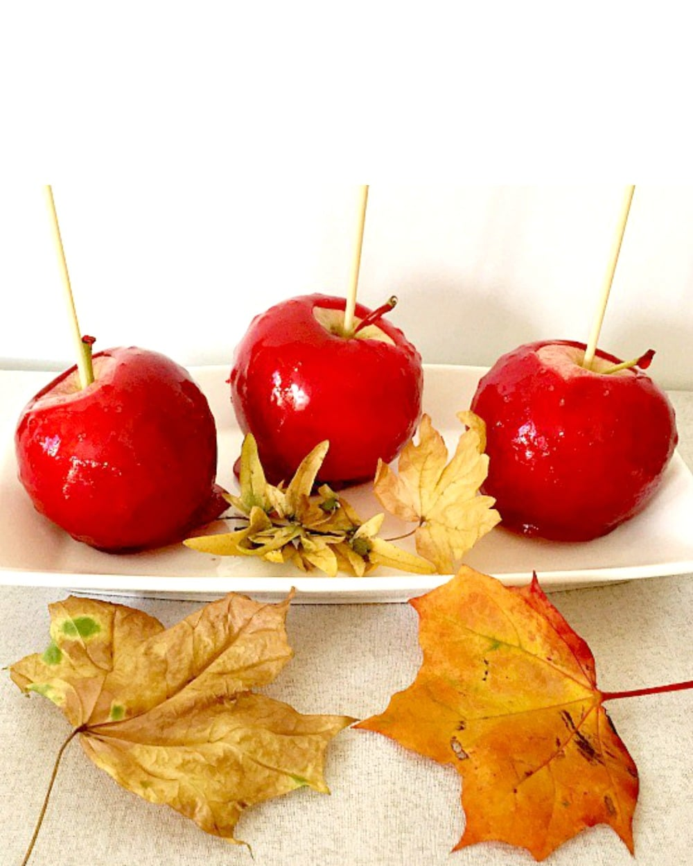 Trick-or-treat red candy apple recipe, perfect for the Halloween trick-or-treat bag.