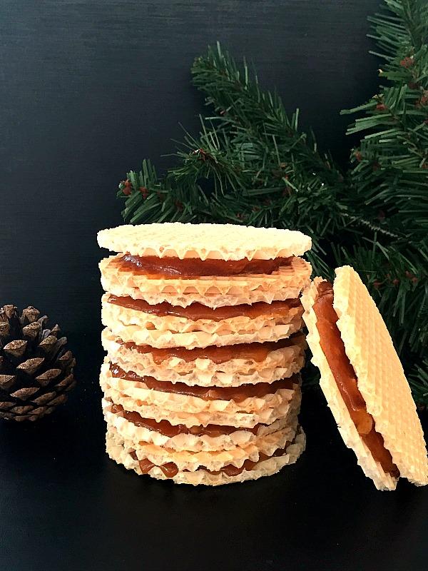 Caramel and walnut wafers