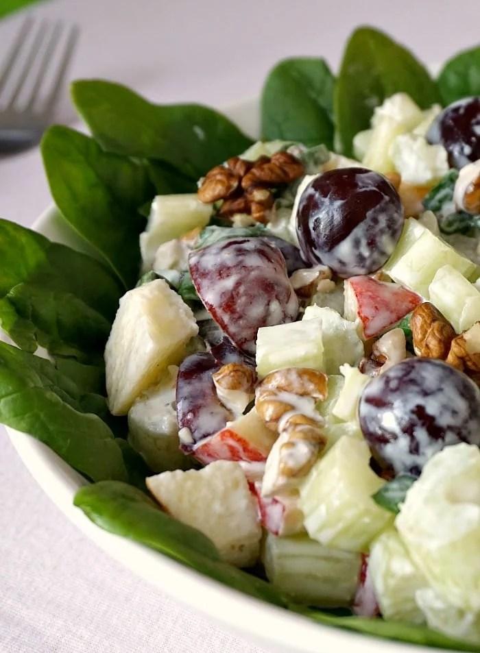 Close-up shot of a walforf salad