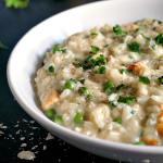 Creamy chicken risotto with peas
