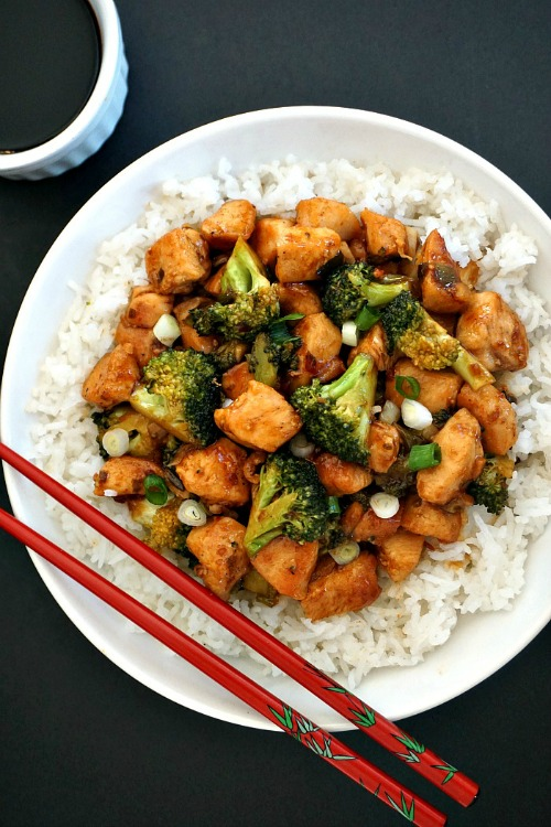 Chicken and broccoli stir fry with rice