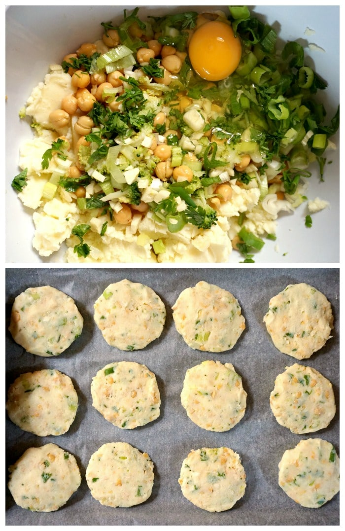 Chickpea potato broccoli patties - instructions how to make them