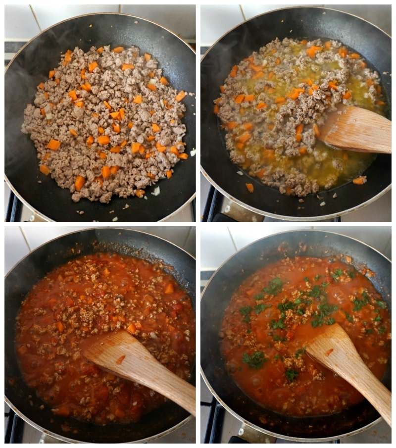 Collage of 4 photos showing step-by-step instructions how to make turkey bolognese.