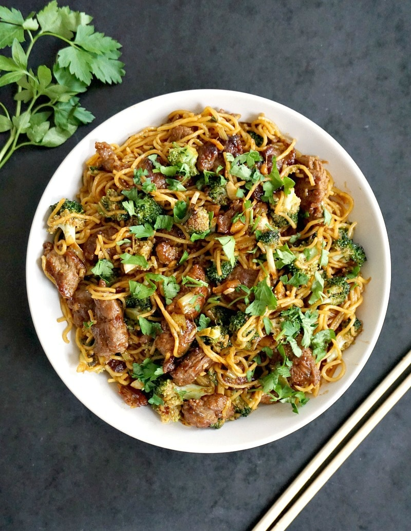 Super tender beef with broccoli noodle stir fry