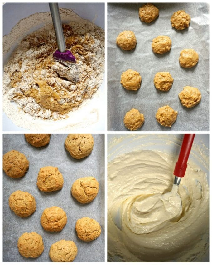 collage of 4 photos to show step-by-step instructions how to make the pumpkin whoopie pies with maple cream filling