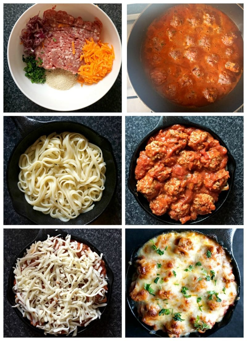 Collage of 6 overhead photos to show step-by-step instructions how to cook the Baked Spaghetti and Meatballs recipe