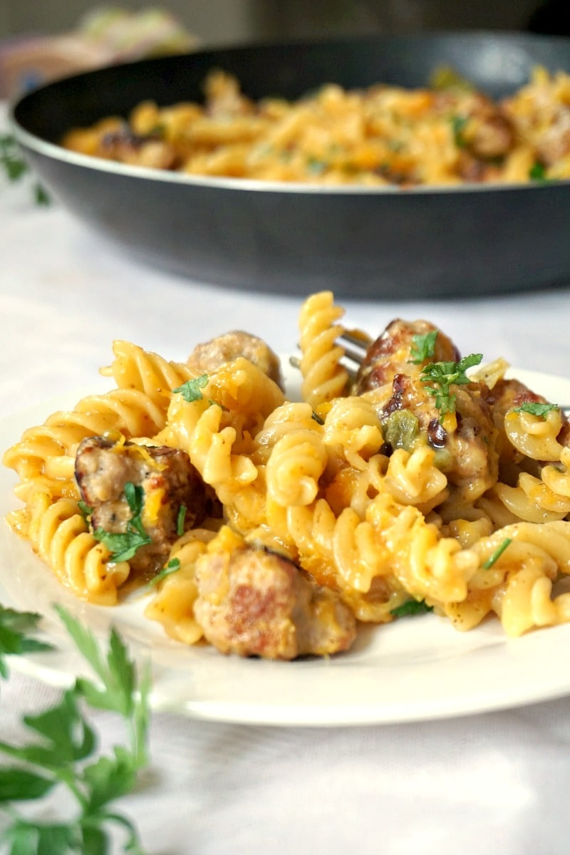 One-pan butternut squash sausage pasta, a cheap and easy dinner recipe that can please the whole family. A plate full of goodness.