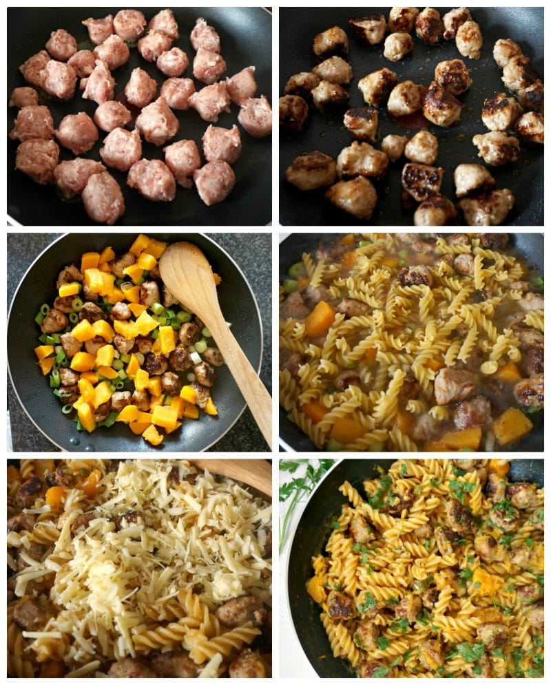 One-pan butternut squash sausage pasta, step by step instructions on how to cook it, from frying the sausages, to adding the vegetables. pasta and cheese.