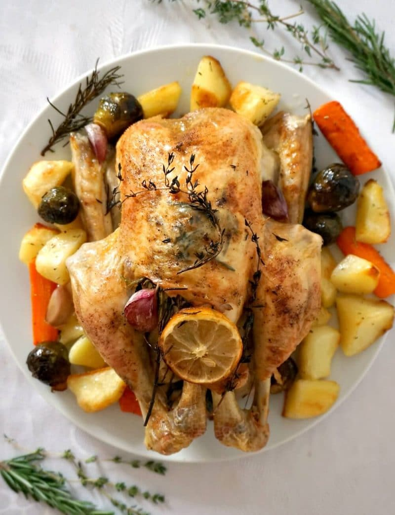 Overhead shot of a whole roasted chicken and vegetables on a white plate with herbs scattered on a white background