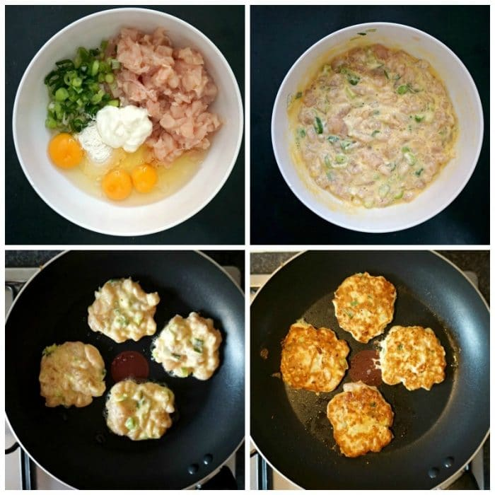 Collage of 4 photos to show how the chicken fritters are made: the first phone shows a bowl with raw chopped chicken, 3 eggs, chopped spring onions, a dollop of sour cream and a tablespoon of flour, the second photo shows the ingredients mixed up in the bowl, the third one shows 4 fritters beign cooked in a frying pan, and the fourth one shows the cooked fritters in the frying pan