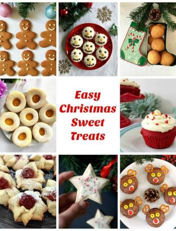 Collage of 8 photos with easy Christmas treats to make with the kids