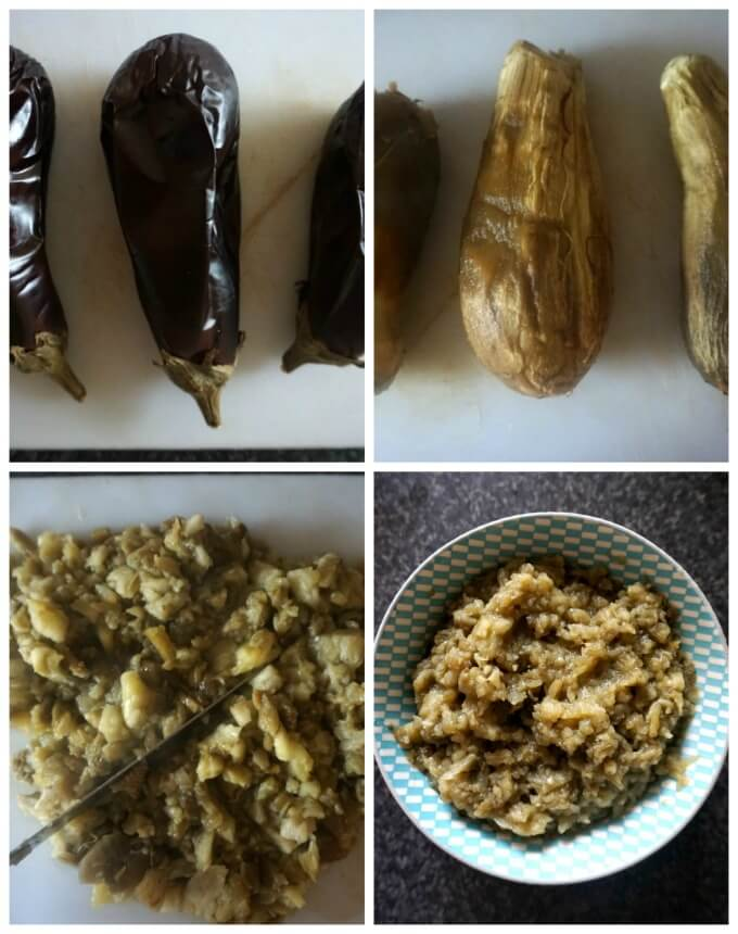 Collage of 4 photos to show how to make mayo eggplant dip canapés