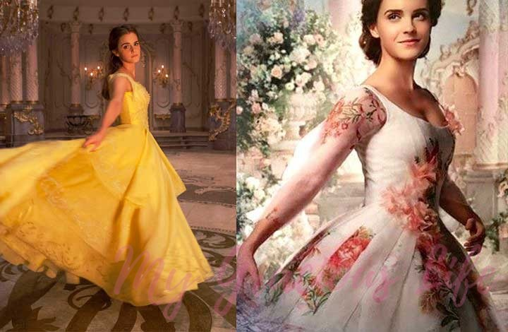 belle yellow dress and wedding dress