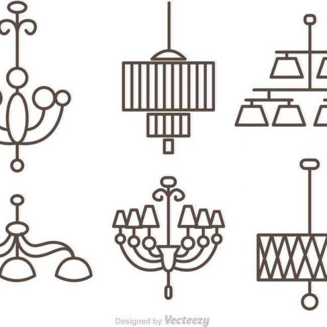 Free Vector Modern Crystal Chandelier Outlne Vectors 17318