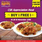 Kenny Rogers Offer BUY 1 FREE 1 Promo CSR Appreciation Meal!