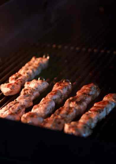 Greek chicken souvlaki grill