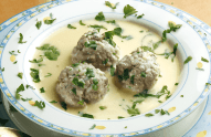 Greek Meatball Soup in Egg-lemon sauce (Youvarlakia Avgolemono)