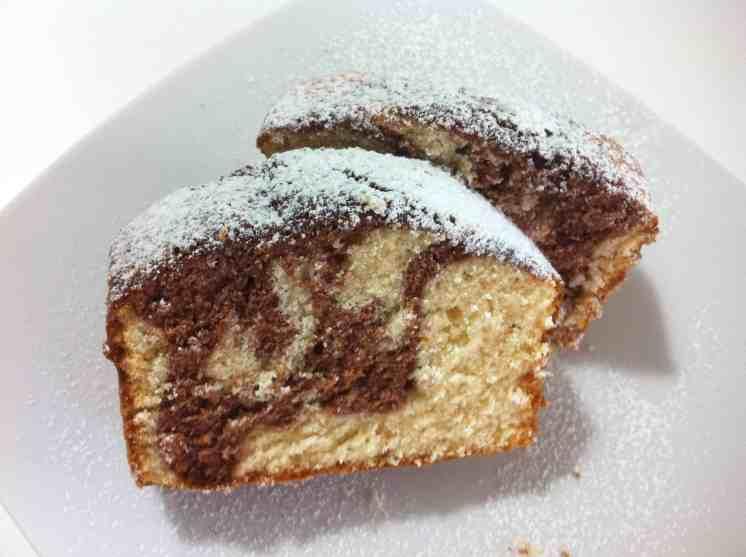 Vanilla and cocoa sponge cake