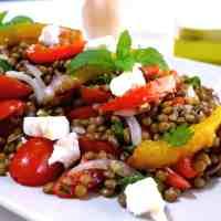 Delicious Greek Lentil Salad Recipe with Feta cheese (Fakes Salata)