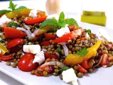 Greek Lentil Salad recipe with Feta cheese