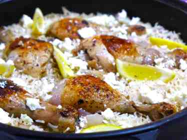 Lemon Greek Rice Pilaf with Chicken thighs