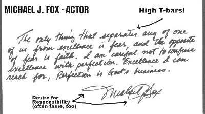 Michael J. Fox handwriting sample by leading handwriting