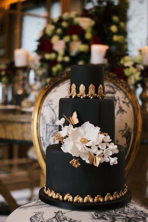 Elegant Black and Gold Birthday Cake Images