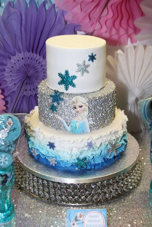Elsa Silver Icing Frozen Birthday Cake
