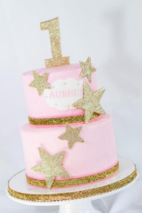 Gold Stars Birthday Cake Images