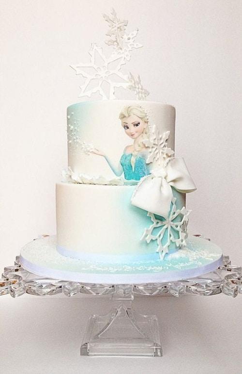 White Snowflakes with Elsa Frozen Birthday Cake