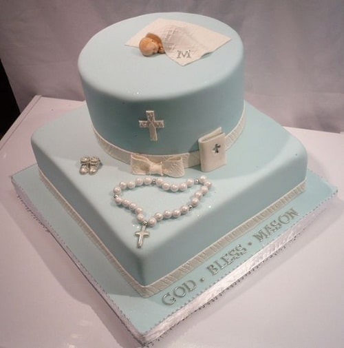 Cross, Bible and Rosary with Sleeping Baby Christening Cakes for Boys