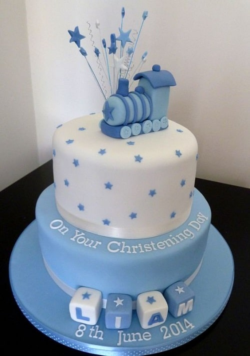 Blue Train with Star Wands Christening Cakes for Boys