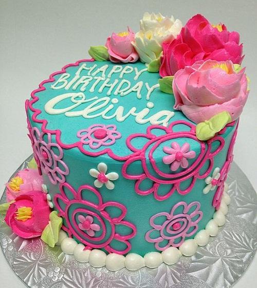 Buttercream Flowers Birthday Cakes for Girls