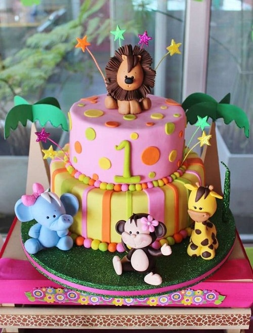 Jungle Animals Birthday Cakes for Girls