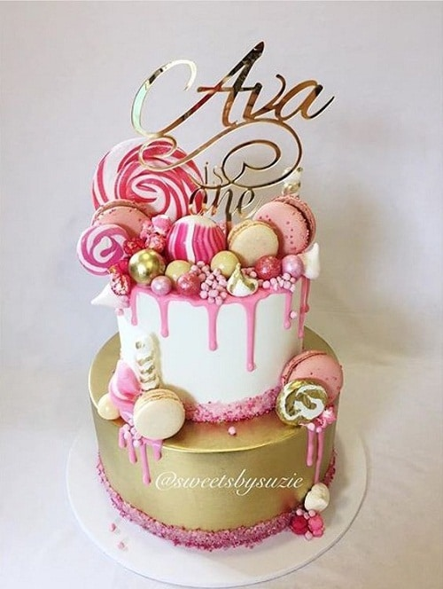 Macaroons and Lollipops Birthday Cakes for Girls