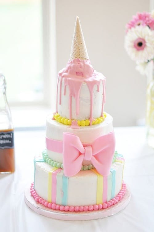 Melted Ice Cream with Ribbon Birthday Cakes for Girls