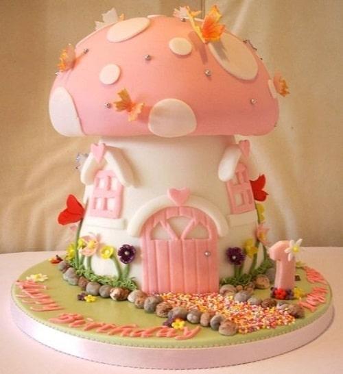 Mushroom House Birthday Cakes for Girls
