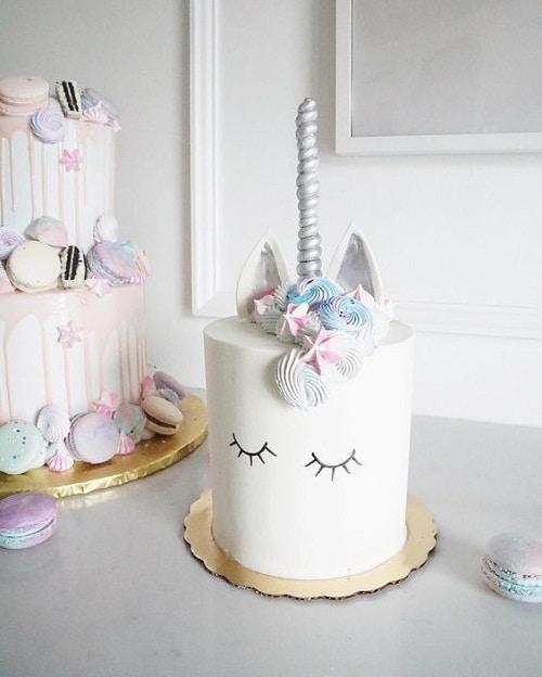 Simple, Sleeping Unicorn Birthday Cakes for Girls