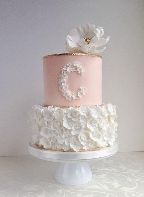 White Flower Birthday Cakes for Girls