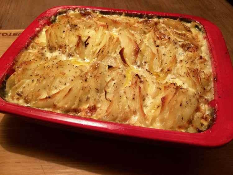 Hasselback aardappel gratin