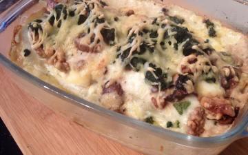 lasagne met kastanjechampignons en parmaham