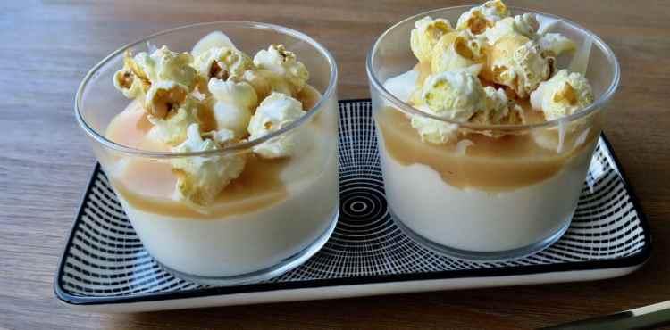 Salted caramel mousse met popcorn