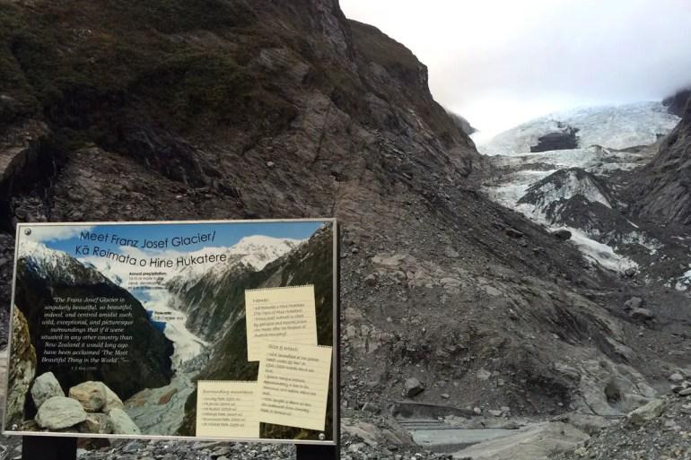 Am Franz Josef Gletscher werden die Folgen des Klimawandesl sichtbar
