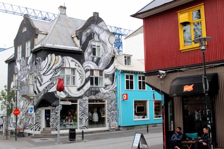 Street Art im Zentrum Reykjavíks, hier in der Laugavegur