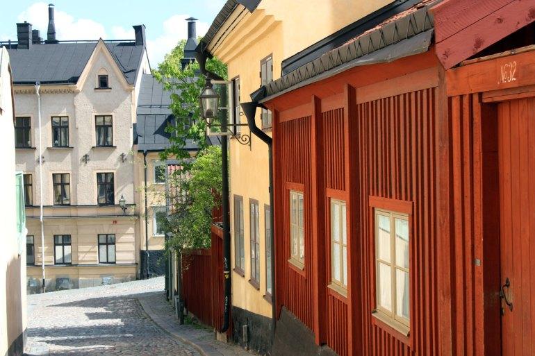 Historische Häuser im alten Arbeiterviertel Södermalm