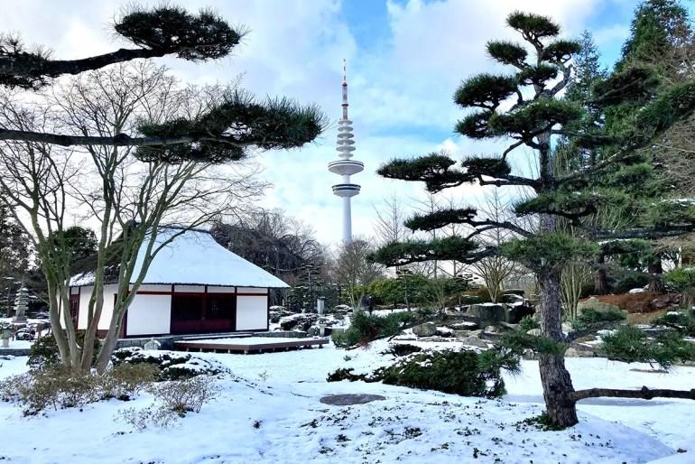 Auch Planten un Blomen ist bei Schnee ein beliebtes Ziel für Spaziergänge