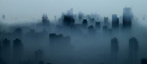 Shanghai Skyline in thick Fog