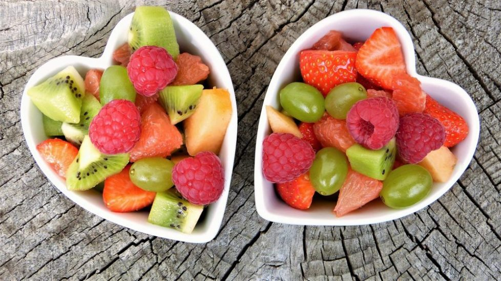 Heart shaped bowls of fruit