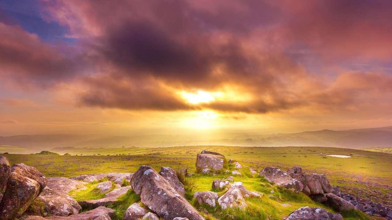 sunset, hills, landscape